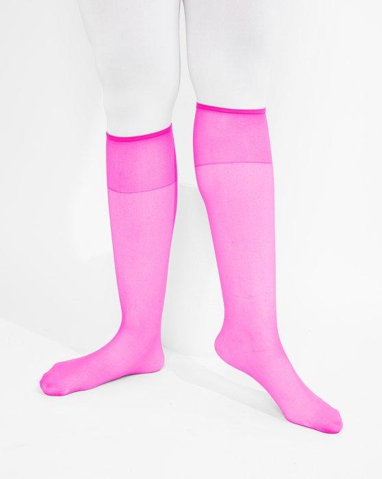 Neon-Pink Sheer Knee Highs Style# 1536 | We Love Colors