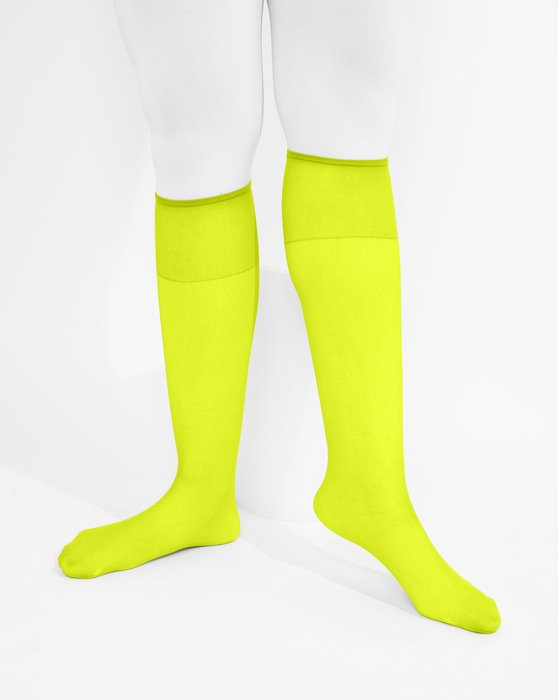 Neon Yellow Womens Sheer Knee Highs Style# 1536 | We Love Colors