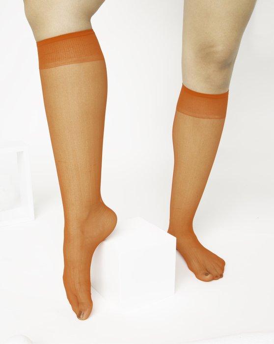 Orange Sheer Knee Highs Style# 1536 | We Love Colors