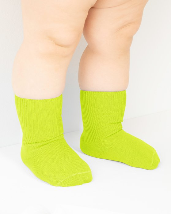 Neon-Yellow Kids Nylon Socks Style# 1577 | We Love Colors