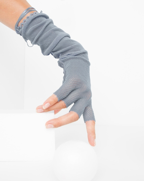 Grey Womens Fishnet Lace Fingerless Gloves Style# 3125 | We Love Colors