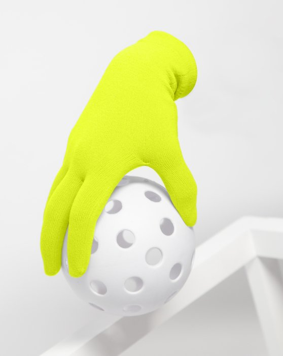 Neon-Yellow Womens Short Matte Seamless Gloves Style# 3601 | We Love Colors