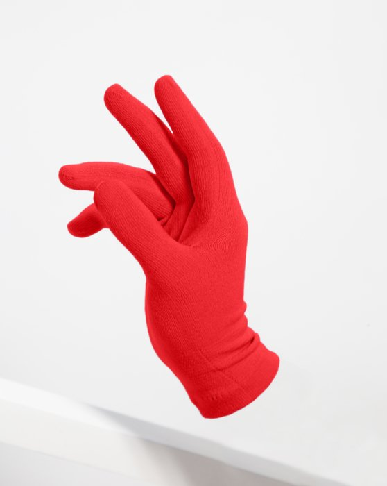 Scarlet-Red Womens Short Matte Seamless Gloves Style# 3601 | We Love Colors