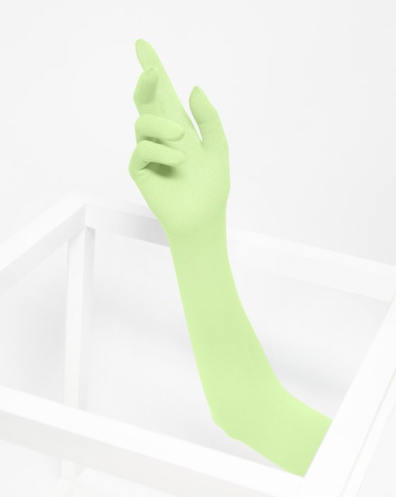 Mint-Green Womens Long Matte Seamless Gloves Style# 3607 | We Love Colors