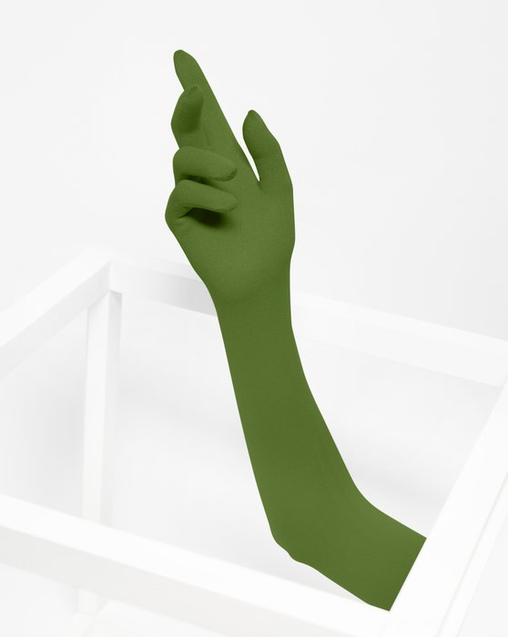 Olive Green Long Matte Seamless Gloves Style# 3607 | We Love Colors