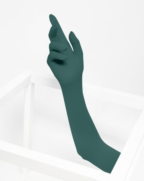 Spruce Green Long Matte Seamless Gloves Style# 3607 | We Love Colors
