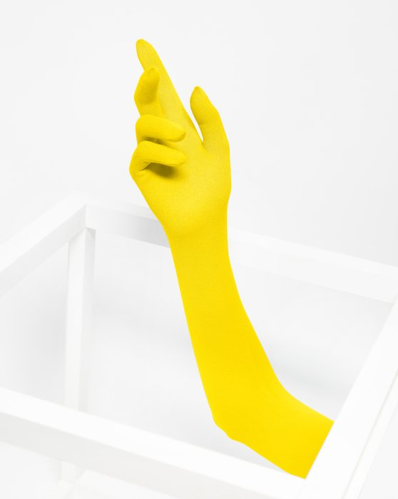 Yellow Womens Long Matte Seamless Gloves Style# 3607 | We Love Colors