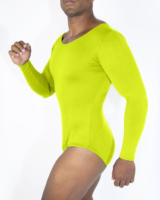 Neon-Yellow Womens Long Sleeve Scoop Neck Leotard Style# 5002 | We Love Colors