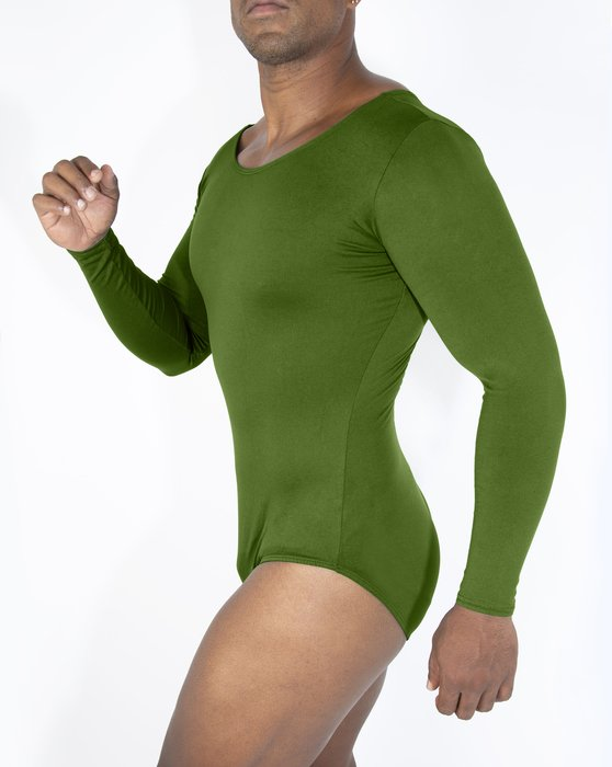 Olive-Green Womens Long Sleeve Scoop Neck Leotard Style# 5002 | We Love Colors