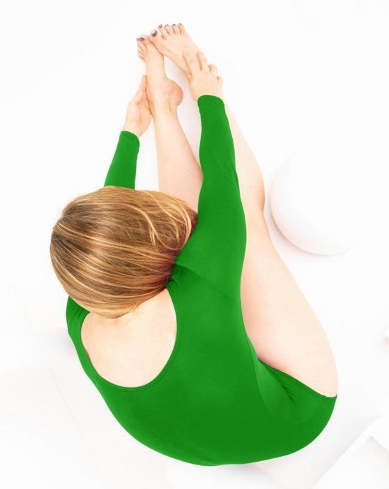 Kelly-Green Womens Long Sleeve Scoop Neck Leotard Style# 5002 | We Love Colors