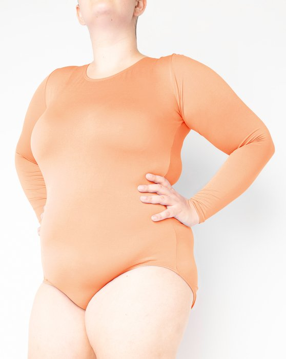 Light Orange Womens Long Sleeve Scoop Neck Leotard Style# 5002 | We Love Colors