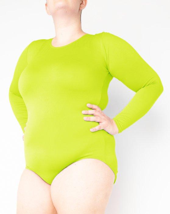 Neon-Yellow Womens Long Sleeve Scoop Neck Leotard Style# 5002   We Love Colors