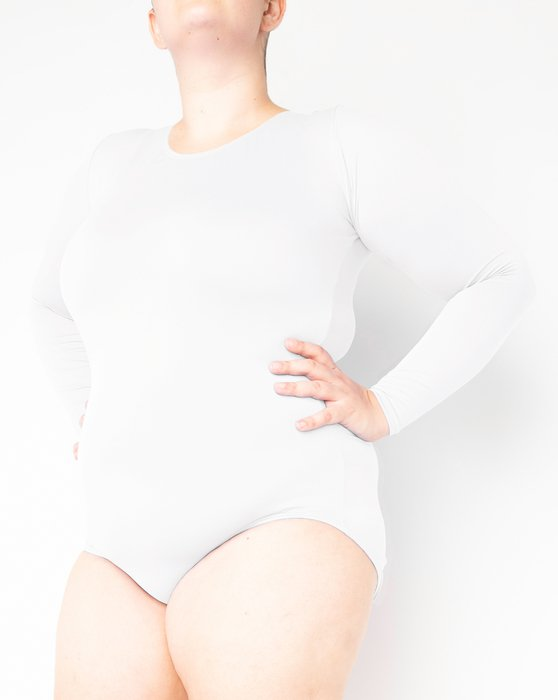 White Long Sleeve Scoop Neck Leotard Style# 5002 | We Love Colors