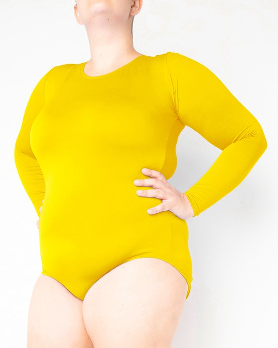 Yellow Long Sleeve Scoop Neck Leotard Style# 5002 | We Love Colors