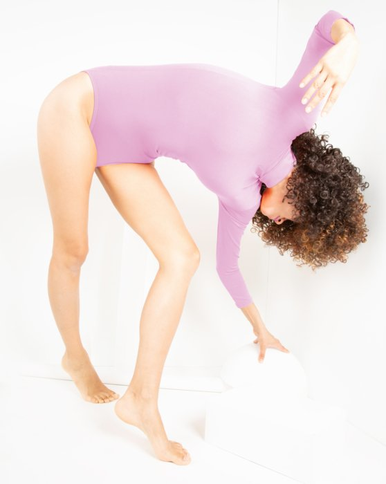 Light-Pink Womens Long Sleeve Mock Turtleneck Leotard Style# 5008 | We Love Colors
