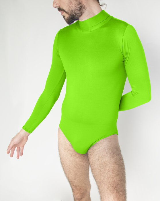 Neon Green Long Sleeve Mock Turtleneck Leotard Style# 5008 | We Love Colors