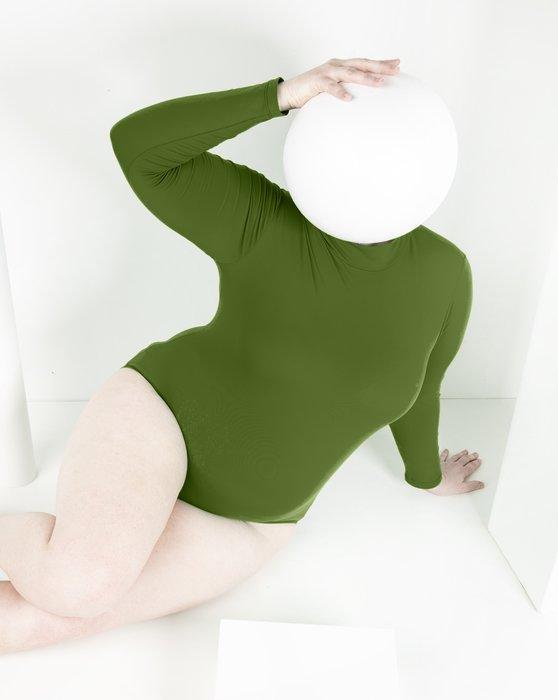 Olive Green Womens Long Sleeve Mock Turtleneck Leotard Style# 5008 | We Love Colors