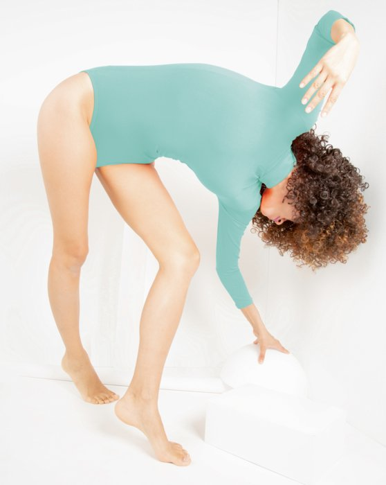 Dusty Green Long Sleeve Mock Turtleneck Leotard Style# 5008 | We Love Colors