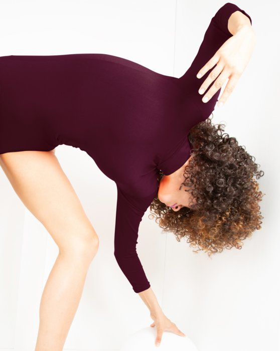 Maroon Long Sleeve Mock Turtleneck Leotard Style# 5008 | We Love Colors