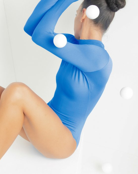 Medium-Blue Long Sleeve Mock Turtleneck Leotard Style# 5008 | We Love Colors