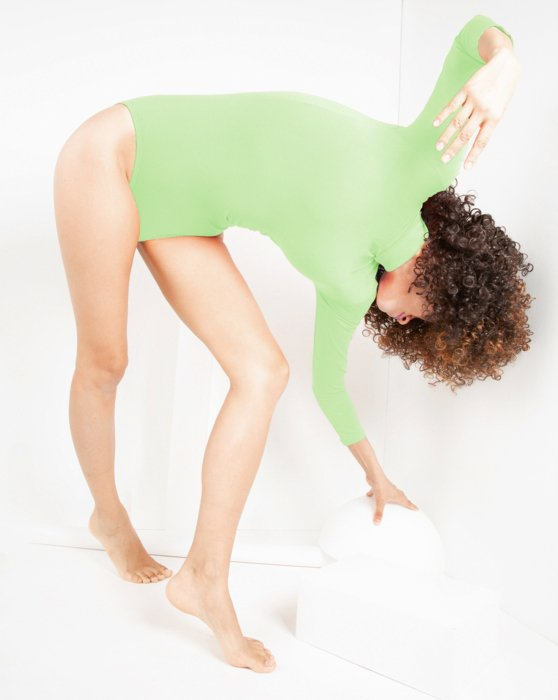 Mint-Green Womens Long Sleeve Mock Turtleneck Leotard Style# 5008 | We Love Colors