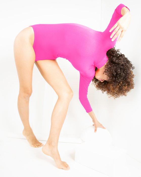 Neon-Pink Womens Long Sleeve Mock Turtleneck Leotard Style# 5008 | We Love Colors