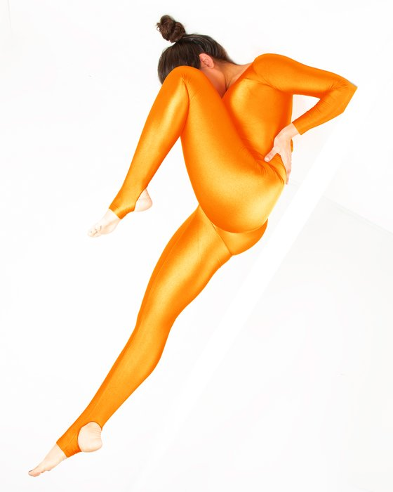 Neon Orange Womens Long Sleeve Unitard Style# 5009 | We Love Colors