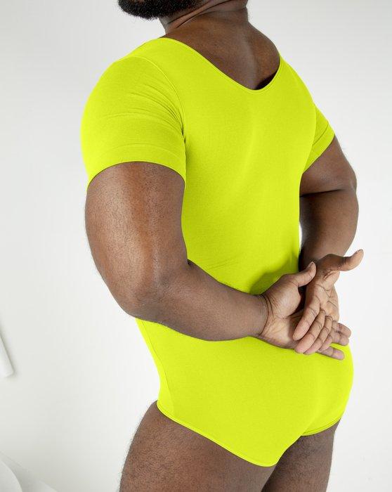 Neon Yellow Womens Short Sleeve Bodysuit Style# 5013   We Love Colors