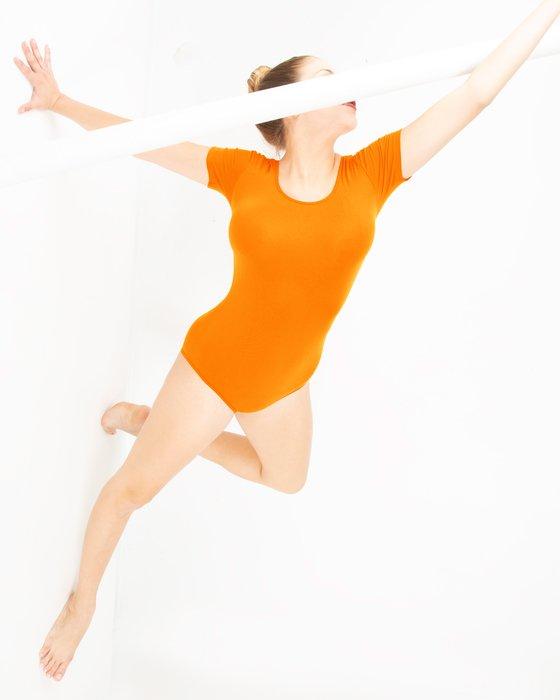 Neon Orange Womens Short Sleeve Bodysuit Style# 5013 | We Love Colors