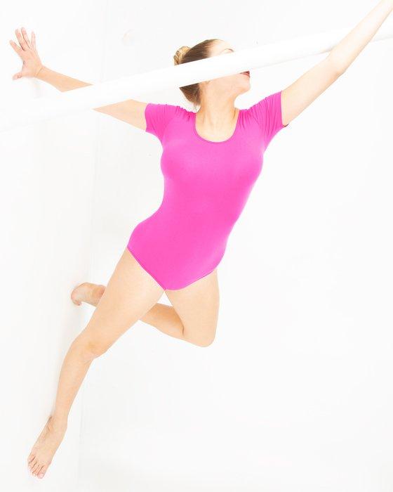 Neon Pink Womens Short Sleeve Bodysuit Style# 5013 | We Love Colors