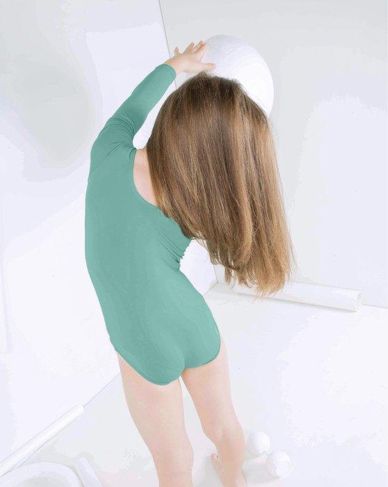 Dusty-Green Kids Long Sleeve Scoop Neck Leotard Style# 5072 | We Love Colors