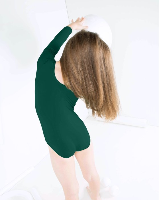 Hunter-Green Kids Long Sleeve Scoop Neck Leotard Style# 5072 | We Love Colors