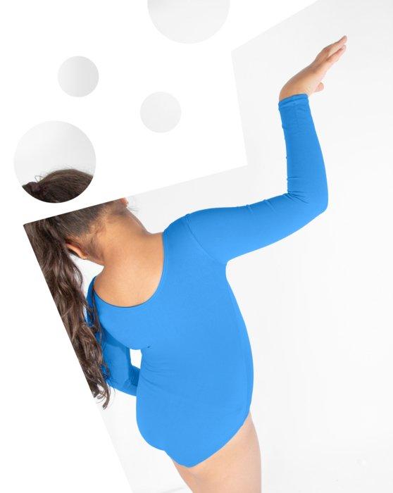Medium-Blue Kids Long Sleeve Scoop Neck Leotard Style# 5072 | We Love Colors
