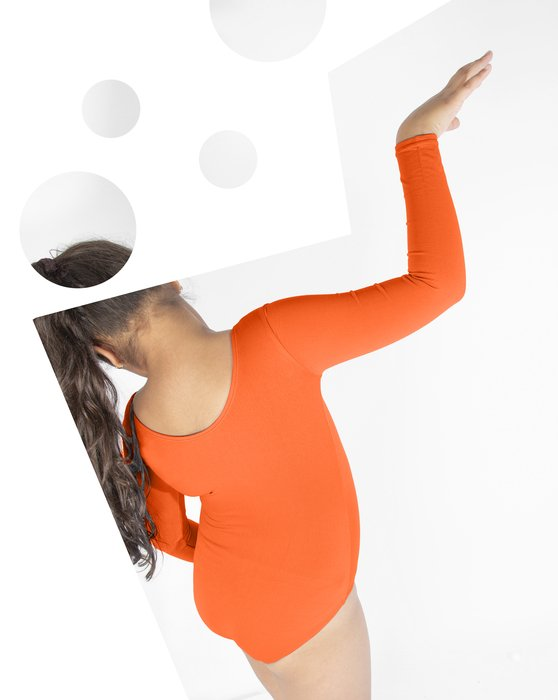 Neon-Orange Kids Long Sleeve Scoop Neck Leotard Style# 5072 | We Love Colors