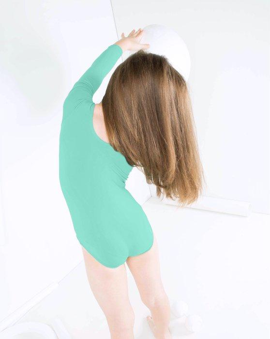 Pastel-Mint Kids Long Sleeve Scoop Neck Leotard Style# 5072 | We Love Colors
