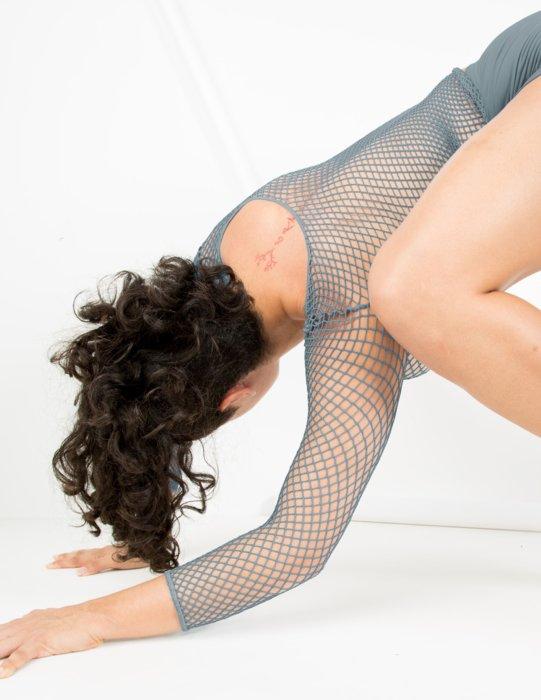 Grey Womens Fishnet Long Sleeve Shirt Style# 6001 | We Love Colors