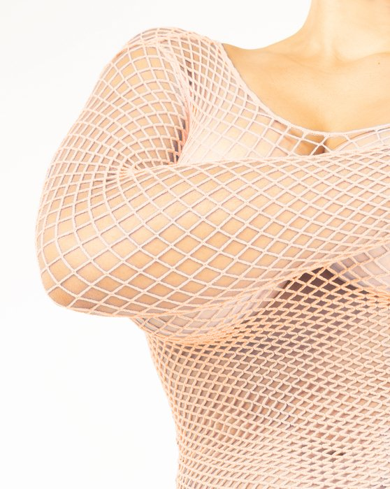 Peach Womens Fishnet Long Sleeve Shirt Style# 6001 | We Love Colors