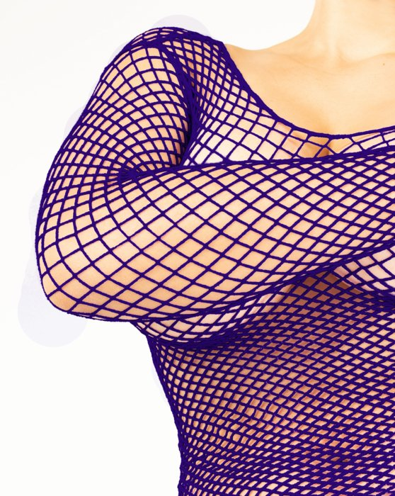 Purple Womens Fishnet Long Sleeve Shirt Style# 6001 | We Love Colors