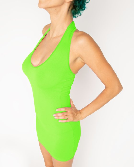 Neon-Green Womens Halter Dress Style# 6025 | We Love Colors