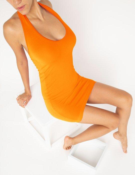 Neon-Orange Womens Halter Dress Style# 6025 | We Love Colors