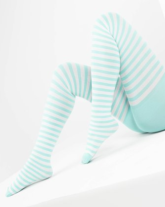 Pastel Mint Womens Patterned Tights We Love Colors