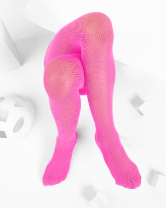 Neon Pink Kids Fishnet Pantyhose | We Love Colors