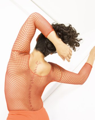 Neon Orange Womens Fishnet Bodywear We Love Colors