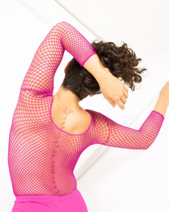 Neon Pink Womens Fishnet Bodywear | We Love Colors