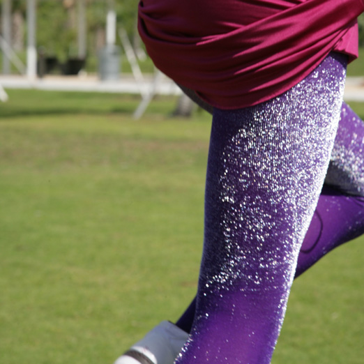 Silver and violet glitter tights.