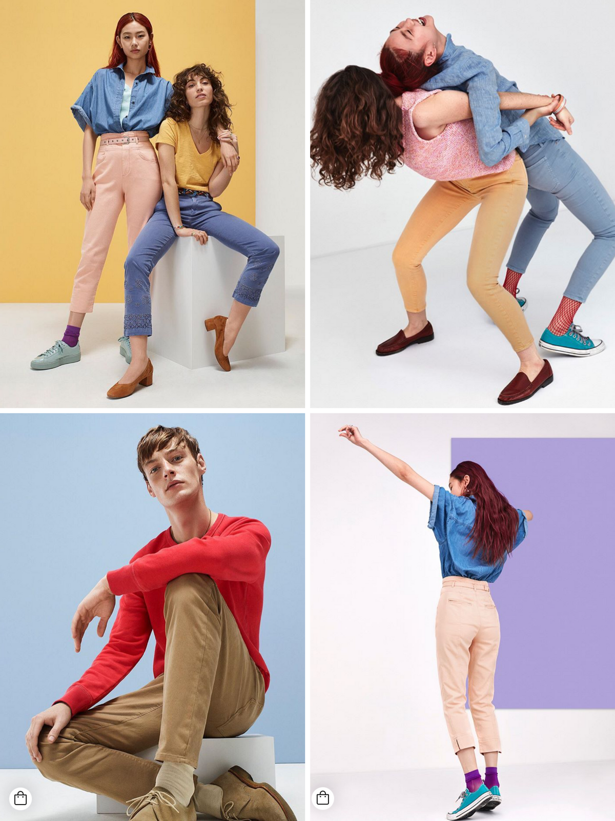 men and women wearing colorful socks and clothing