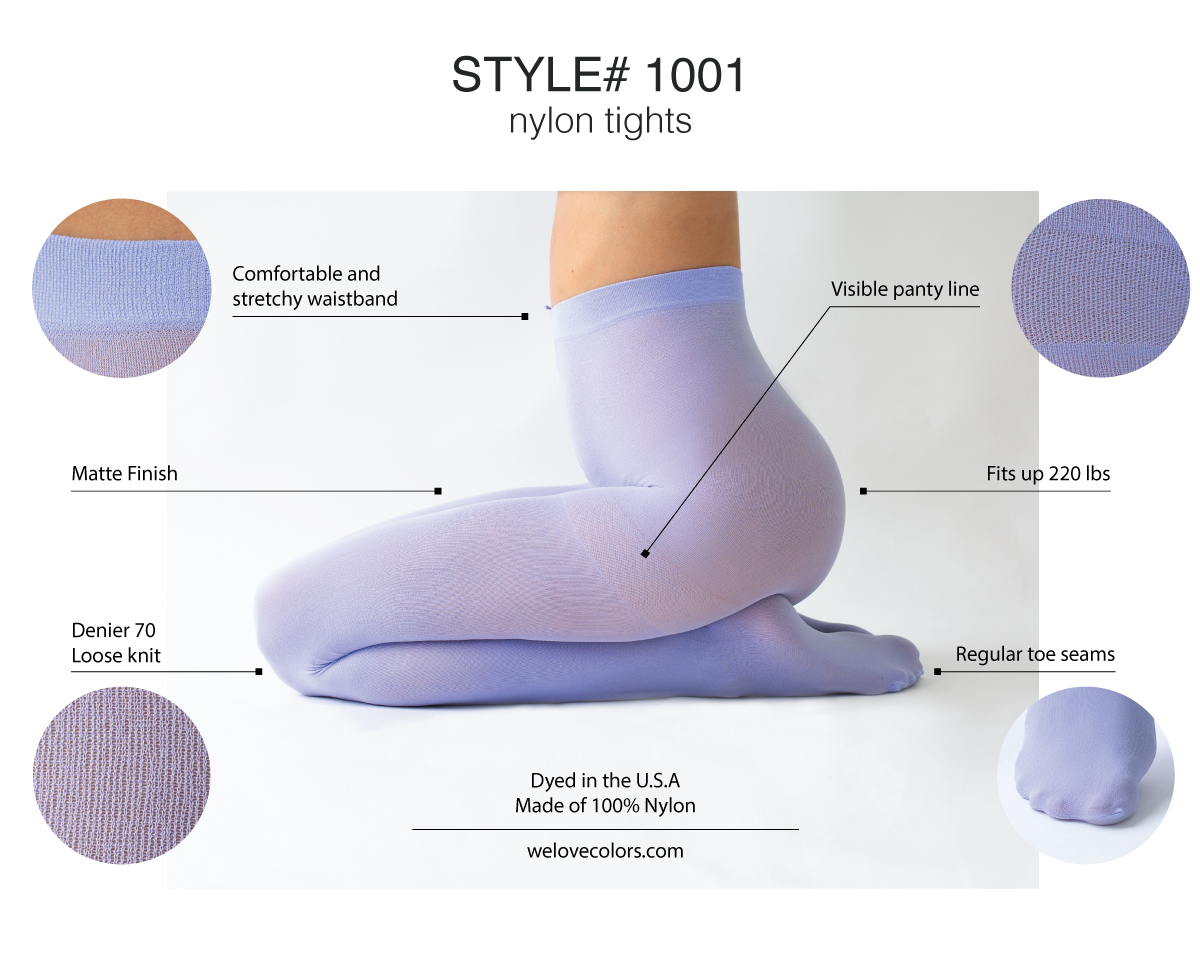 496067c11c7ae Let's move on to our Style# 1023: nylon/spandex blend. These tights come in  9 different sizes. Medium and Tall and seven plus sizes.