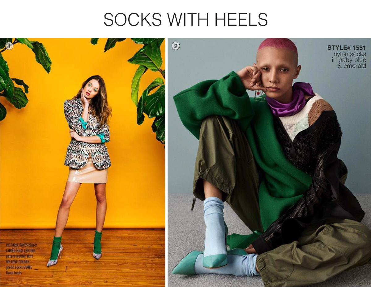 One model sitting and another standing in colored backgrounds wearing socks and heels