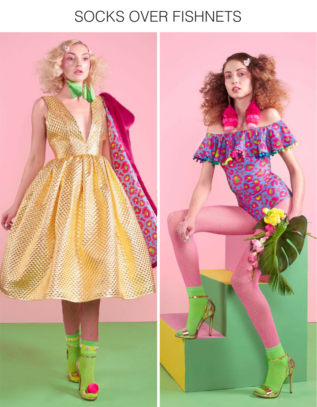 pink and pastel green set with models wearing pastel outfits