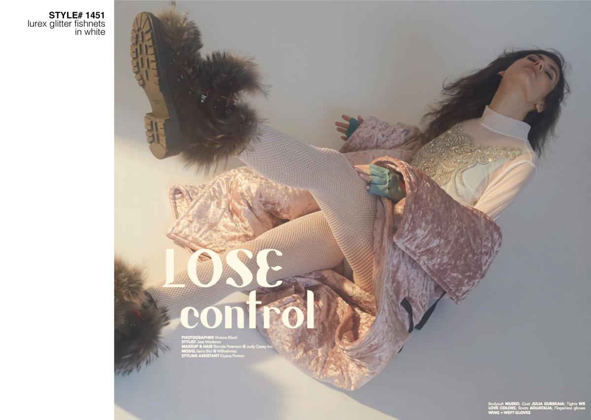 Fashion photoshoot with model wearing glitter fishnets